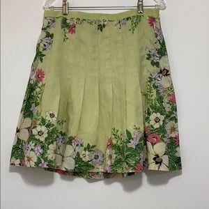 LOFT Yellow Floral Linen Pleated Skirt